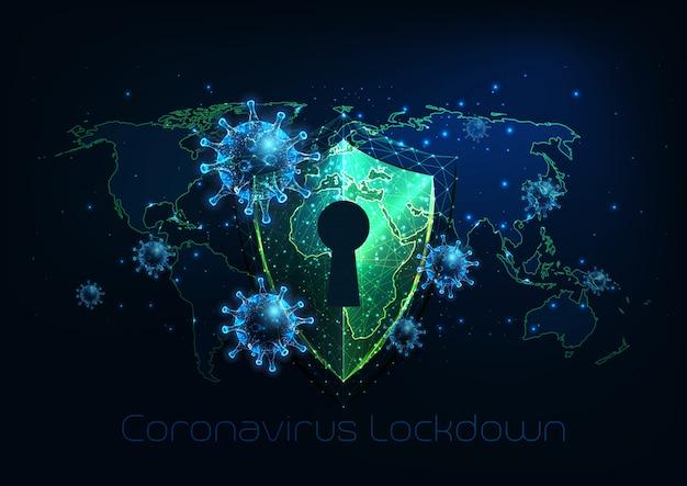 Bloqueio futurista do coronavírus covid-19 futurista, conceito de quarentena
