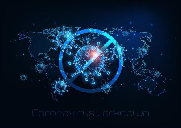 Bloqueio global futurista devido à doença de coronavírus covid-19. pare de vírus