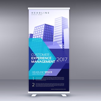 Blue business roll up banner design com forma geométrica
