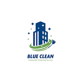 Blue clean edifício comercial, serviço de limpeza corporativa e empresa de ícone de logotipo de zelador