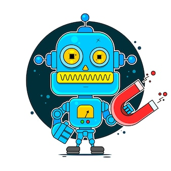 Blue friendly android robot
