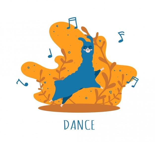 Blue llama apaixonada por notas musicais e muitos detalhes. alpaca fofa.