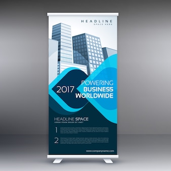 Blue roll up business flyer banner design