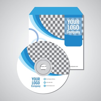 Blue wave cd cover template design