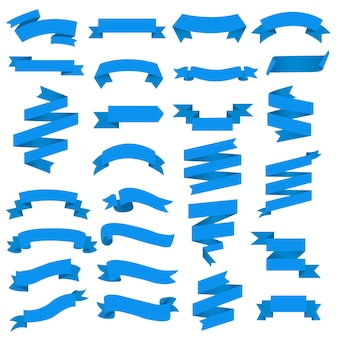 Blue web ribbon big set white background