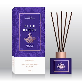 Blueberry home fragrance sticks abstract box template.