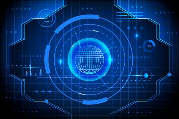 Blueprint fundo de tecnologia de olho cibernético