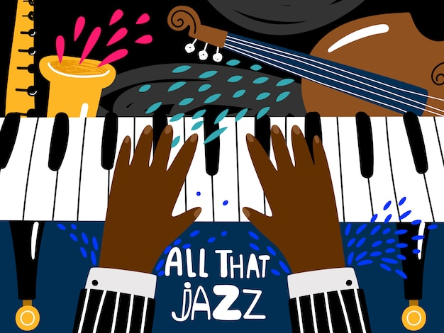Blues e jazz ritmo festival de arte musical, modelo de cartaz de concerto de banda de música vintage de vetor em estilo moderno