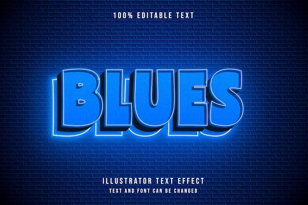 Blues, efeito de texto editável gradação azul neon estilo moderno