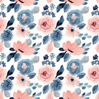 Blush azul floral aquarela sem costura padrão
