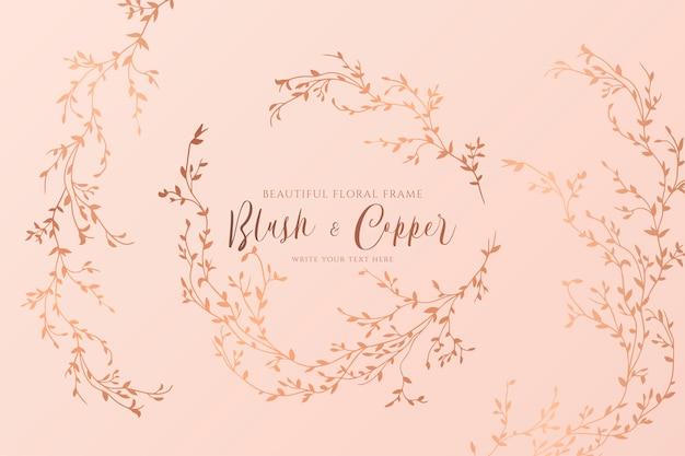 Blush e cobre floral com ramos desenhados à mão