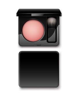 Blush redondo em caixa de plástico retangular preta