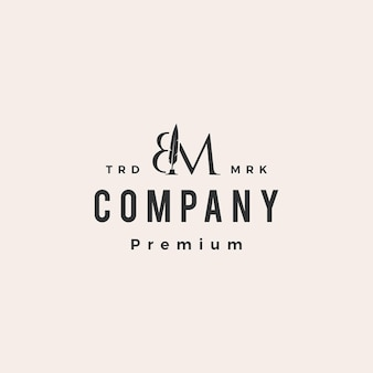 Bm marca de letra caneta de pena hipster modelo de logotipo vintage