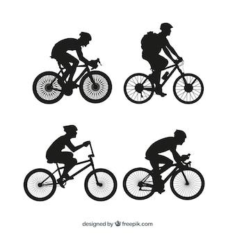 Bmx bicicleta conjunto silhuetas vetor