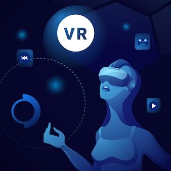 Bnnaer da realidade virtual com a mulher que veste óculos de proteção de vr ou o jogo dos vidros