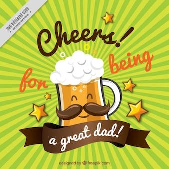 Boa cerveja com um bigode em um fundo sunburst