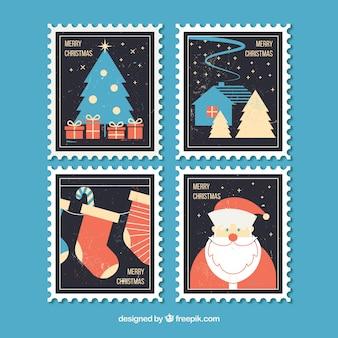 Boa coleção de selos postais postais