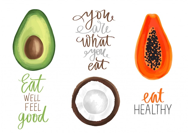 Boa comida, bom humor mão desenhada letras citação sobre alimentos saudáveis.