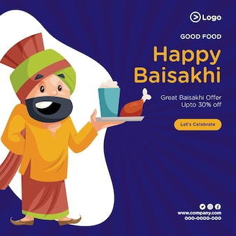 Boa comida feliz desenho de banner baisakhi