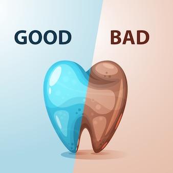 Boa e má ilustração do dente