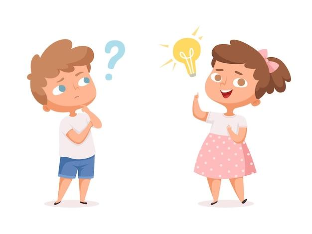 Boa ideia para crianças. pessoas que pensam com pontos de interrogação e personagens de vetor de lâmpada de mente feliz. ilustração pessoa com ideia, educação de caráter e estudo