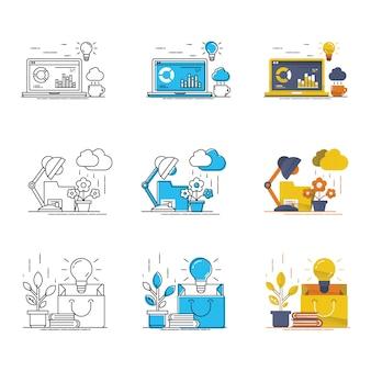 Boa idéia vector moderno ícone conjunto