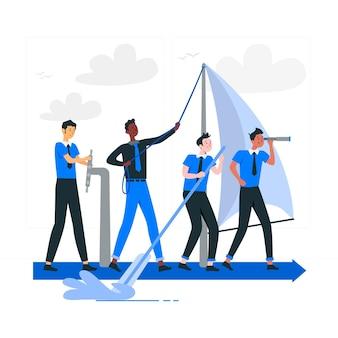 Boa ilustração do conceito de equipe