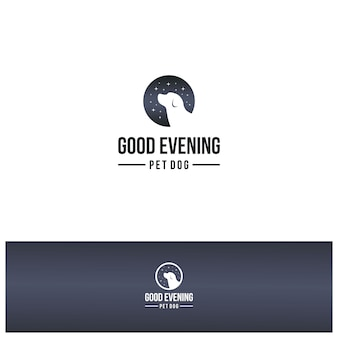 Boa noite cão logotipo design inspiração