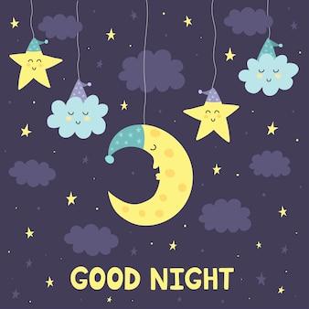 Boa noite, cartão, com, a, cute, dormir, lua, e, estrelas
