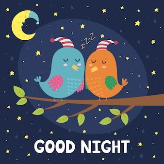 Boa noite, cartão, com, cute, dormir, pássaros