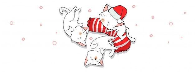 Boa noite com desenho de 3 gatos fofos