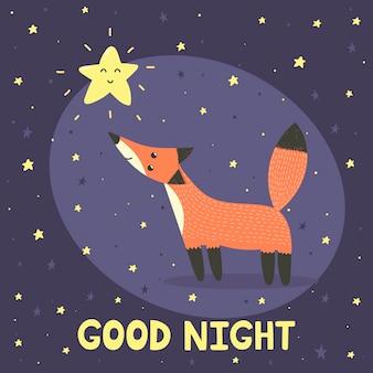 Boa noite com raposa fofa e estrela. ilustração vetorial