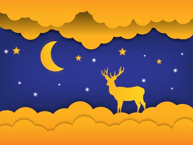 Boa noite de arte de papel com veados e lua em sonho, conceito de corte de papel