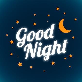 Boa noite e bons sonhos, desenho de letras brilhantes