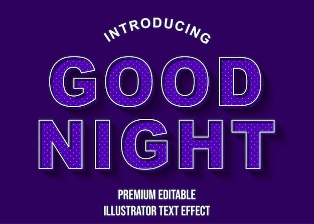 Boa noite - estilo de fonte 3d efeito de texto roxo