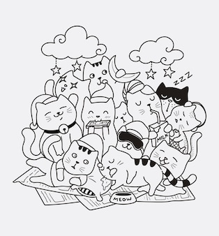 Boa noite gato doodle