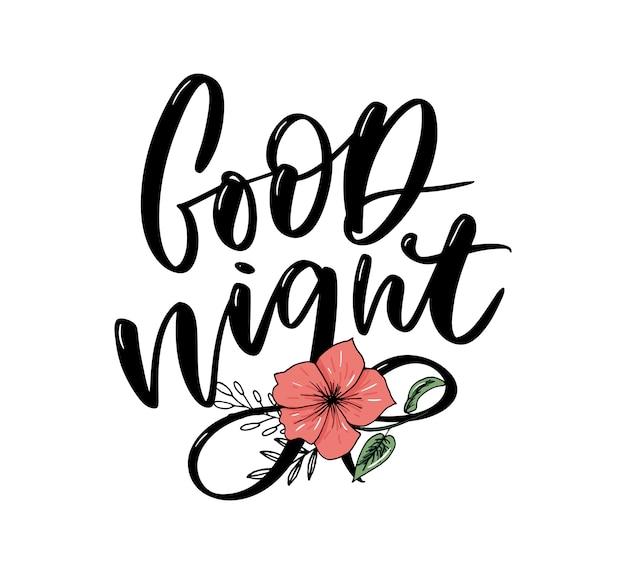 Boa noite. letras de mão desenhada