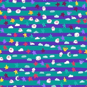 Boa noite sonhos símbolos padrão sem emenda banner. cordeiro e estrela, travesseiro e despertador, lua e nuvem isoladas em fundo listrado de azul e verde. ilustrações de desenho vetorial plana