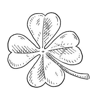 Boa sorte, trevo de quatro folhas. preto monocromático vintage para incubação