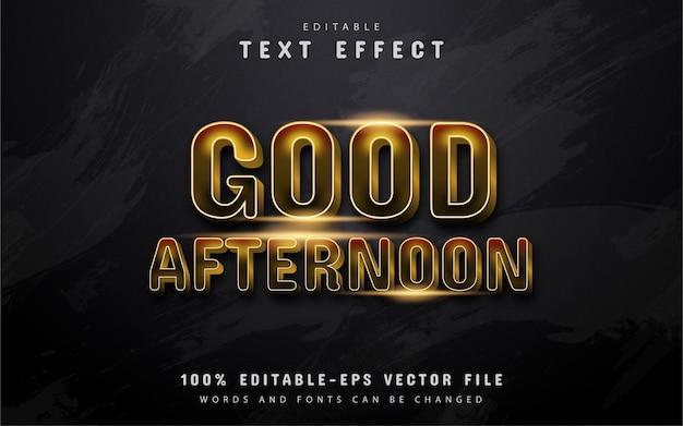 Boa tarde, texto, efeito de texto estilo ouro