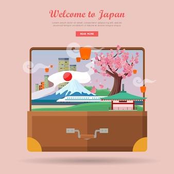 Boa vinda a japão, poster de viagens