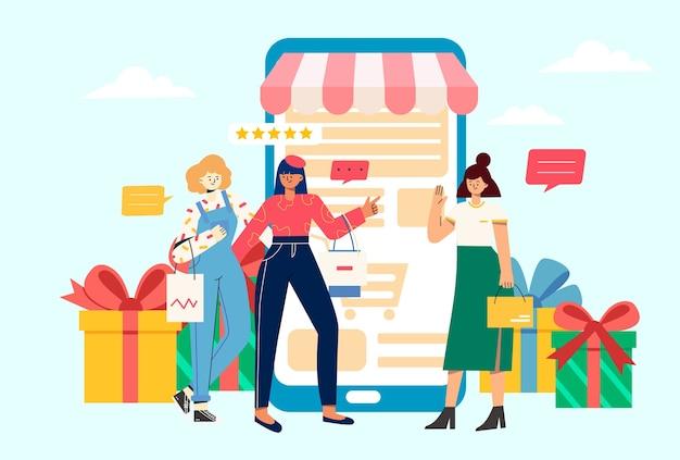 Boas compras para ilustração de meninas