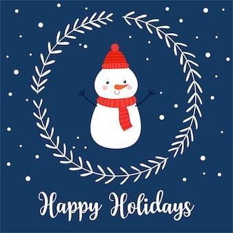 Boas festas. cartão de natal com boneco de neve engraçado, coroa de flores decorativa e letras em estilo cartoon simples. ilustração vetorial em fundo azul