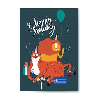 Boas festas cartão postal vector design