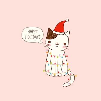 Boas festas com gato bonito dos desenhos animados em estilo simples