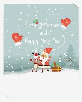 Boas festas desejos mornos cartão desenhado mão criativo para o inverno papai noel, rena