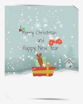 Boas festas desejos mornos mão cartão desenhado, caixa de presente feliz natal e feliz ano novo