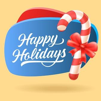 Boas festas design de folheto festivo. bastão de doces de natal