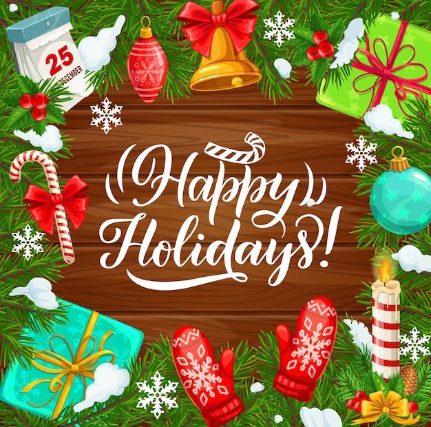Boas festas e celebração de natal, cartaz de férias de inverno.
