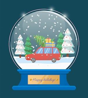 Boas festas globo de neve com carro e árvore de natal